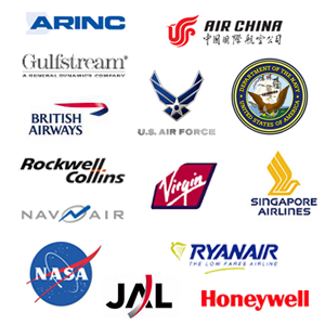 JAL, Air China, Ryanair, Gulfstream, Honeywell, British Airways, BAE Systems, Singapore Airlines, Virgin, NASA, Rockwell Collins